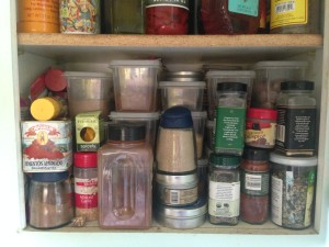 Messy Spice Cabinet