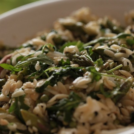 Orzo with Spring Green Veggies, Feta and Almonds