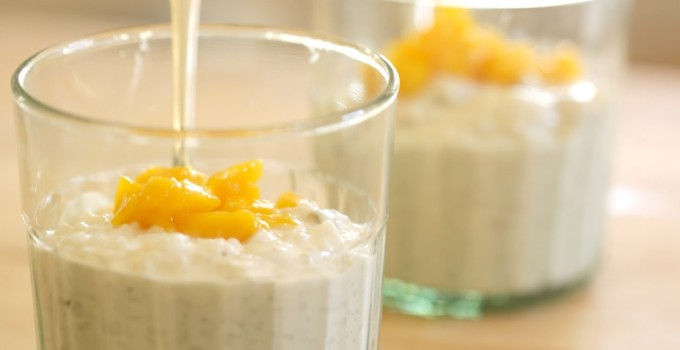 Cardamom Rice Pudding with Golden Raisins and Mango